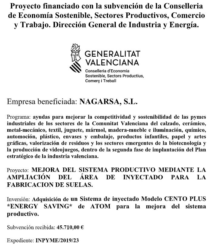 Subvención de la Generalitat Valenciana a la empresa Nagarsa S.L